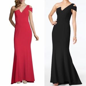Betsy and Adam red one shoulder mermaid dress💃🏼
